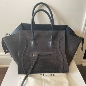 Celine Phantom Bag Blue Suede Leather Medium